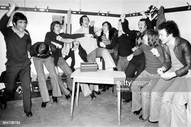 Southampton 1st eleven hear the news that they have drawn Crystal Palace in the Semi Final of the FA Cup 8th March 1976