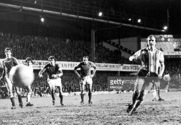 Southampton 2-1 Anderlecht, European Cup Winners Cup 2nd leg match at The Dell, Wednesday 16th March 1977, David Peach puts Southampton in front from...