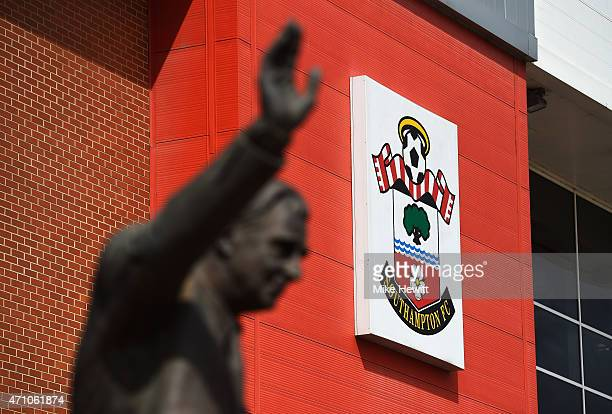 Southampton badge is seen prior to the Barclays Premier League match between Southampton and Tottenham Hotspur at St Mary's Stadium on April 25 2015...