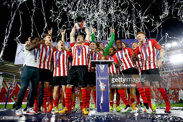 Southampton captain Jason McCarthy lifts the trophy after they win the Under 21 Premier League Cup Final Second Leg match between Southampton and...