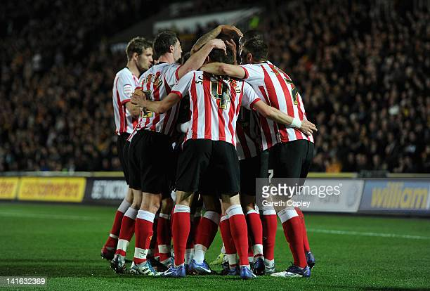 Southampton celebrate after Jack Hobbs of Hull City scores an own goal during the npower Championship match between Hull City and Southampton at KC...