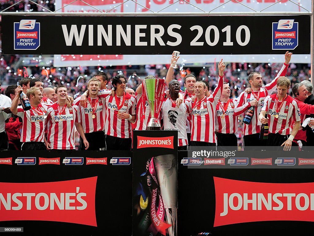 Southampton celebrate after winning the Johnstone's Paint Trophy Final between Southampton and Carlisle United at Wembley Stadium on March 28, 2010 in London, England.