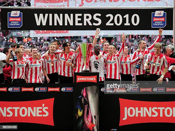 Southampton celebrate after winning the Johnstone's Paint Trophy Final between Southampton and Carlisle United at Wembley Stadium on March 28 2010 in...