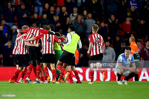 Southampton celebrate after winning the Under 21 Premier League Cup Final Second Leg match between Southampton and Blackburn Rovers at St Mary's...