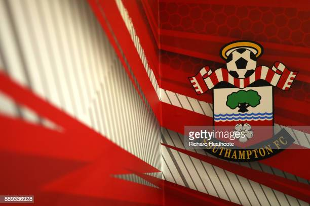 Southampton crest is seen prior to the Premier League match between Southampton and Arsenal at St Mary's Stadium on December 9 2017 in Southampton...