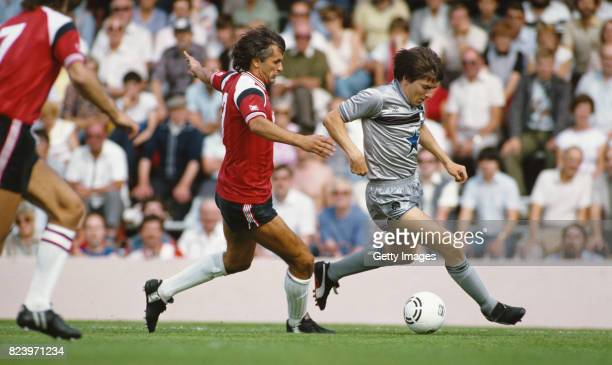 Southampton defender Ivan Golac challenges Newcastle striker Peter Beardsley during the First Division match between Southampton and Newcastle United...