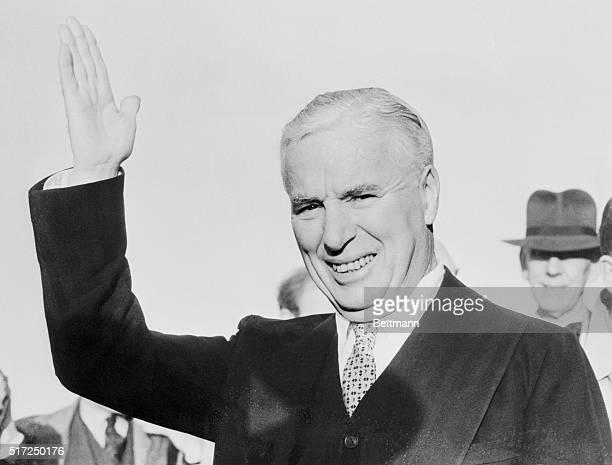 Sixtythreeyearold film comedian Charlie Chaplin arriving at Southampton