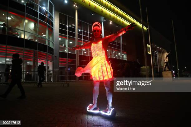 Southampton fan enjoys the pre match atmosphere prior to the Premier League match between Southampton and Crystal Palace at St Mary's Stadium on...
