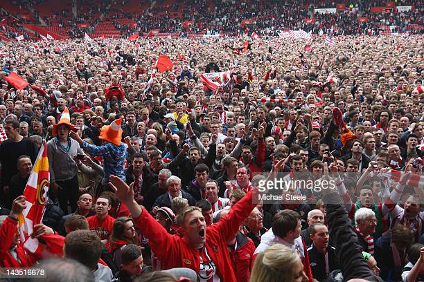 Southampton fans celebrates their team's promotion to the Premier League after the npower Championship match between Southampton and Coventry City at...