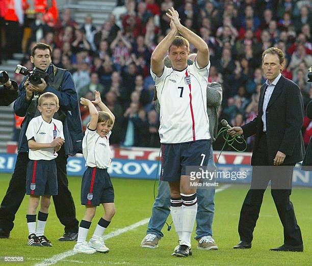 Southampton fans cheer Matt Le Tissier before the Matt Le Tissier Testimonial match played between Southampton and an England XI at St Mary's Stadium...
