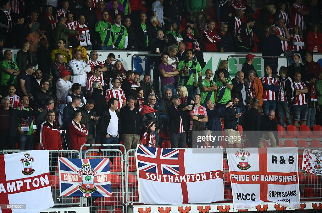 Southampton fans during the UEFA Europa League match between FC Midtjylland and Southampton FC at MCH Arena on August 27, 2015 in Herning, Denmark.