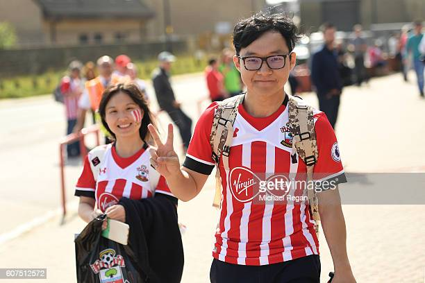 Southampton fans enjoy their walk to the stadium during the Premier League match between Southampton and Swansea City at St Mary's Stadium on...