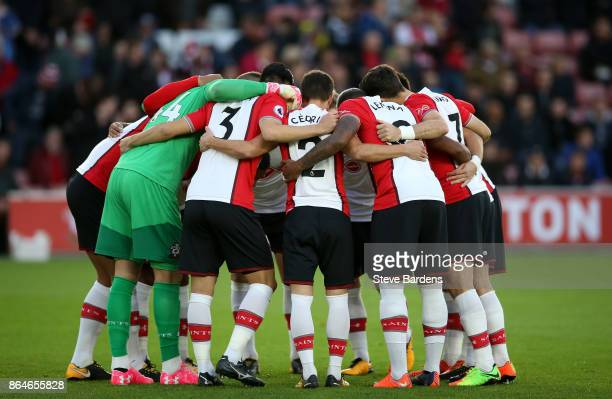 Southampton fans huddle ahead of the Premier League match between Southampton and West Bromwich Albion at St Mary's Stadium on October 21 2017 in...