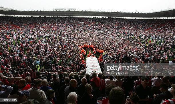 Southampton fans run onto the pitch as they celebrate avoiding relegation during the Coca-Cola Championship match between Southampton and Sheffield...