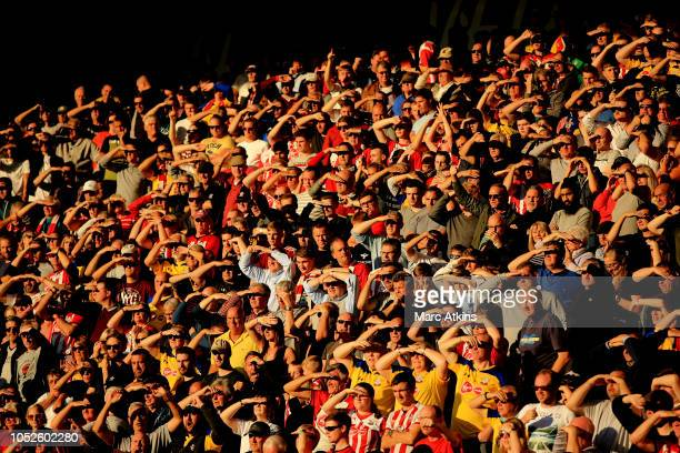 Southampton fans shade their eyes from the sun as they look on during the Premier League match between AFC Bournemouth and Southampton FC at Vitality...