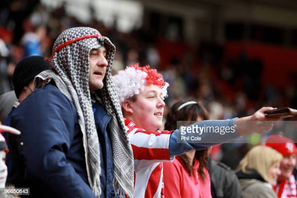 Southampton fans taunt Portsmouth players with their wallets during the FA Cup sponsored by EON fifth round match between Southampton and Portsmouth...