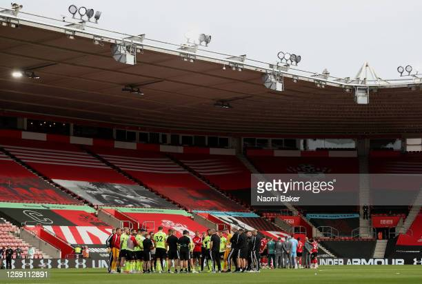 Southampton FC and Sheffield United for muddles on the pitch after the Premier League match between Southampton FC and Sheffield United at St Mary's...