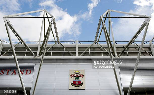 Southampton FC club badge seen on the outside of St Mary's Stadium before the English Premier League football match between Southampton and Wigan...