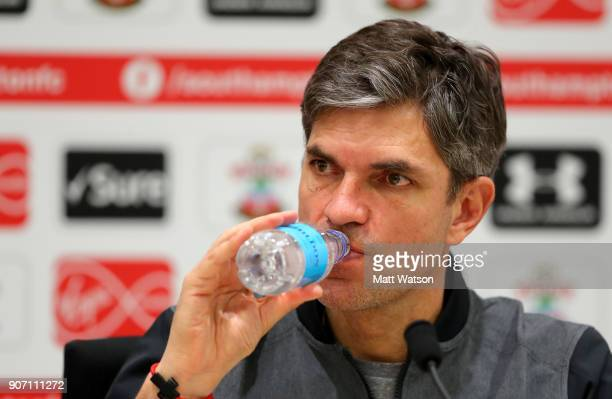 Southampton FC manager Mauricio Pellegrino drinking from a Hildon water bottle during a press conference at the Staplewood Campus on January 19 2018...