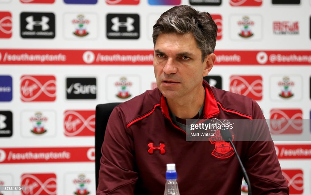 Southampton FC manager Mauricio Pellegrino during a pre match press conference at the Staplewood Campus on November 24, 2017 in Southampton, England.
