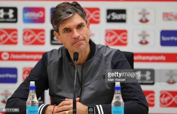 Southampton FC manager Mauricio Pellegrino during a press conference at the Staplewood Campus on January 19 2018 in Southampton England