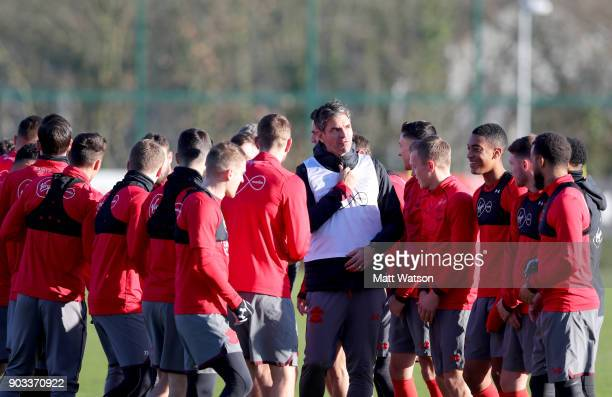 Southampton FC manager Mauricio Pellegrino during a training session at the Staplewood Campus on January 10 2018 in Southampton England
