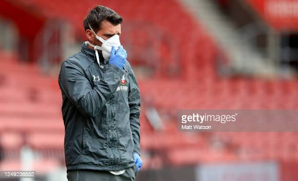Southampton FC medical staff member Kevin Mulholland wearing PPE during a friendly match between Southampton FC and Bristol City ahead of the Premier...