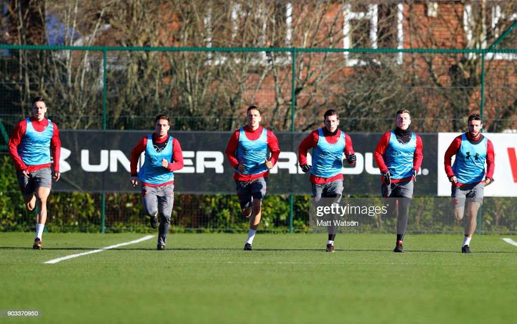 Southampton FC players are put through their paces during a training session at the Staplewood Campus on January 10, 2018 in Southampton, England.