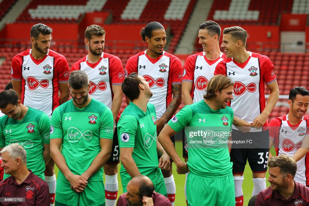 Southampton FC players during team photo at St Mary's Stadium on September 14, 2017 in Southampton, England.
