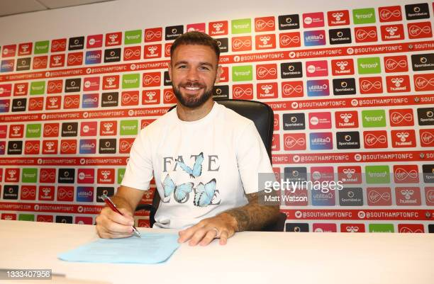 Southampton FC sign Adam Armstrong from Blackburn Rovers on a permanent transfer, pictured at St Mary's stadium on August 10, 2021 in Southampton,...