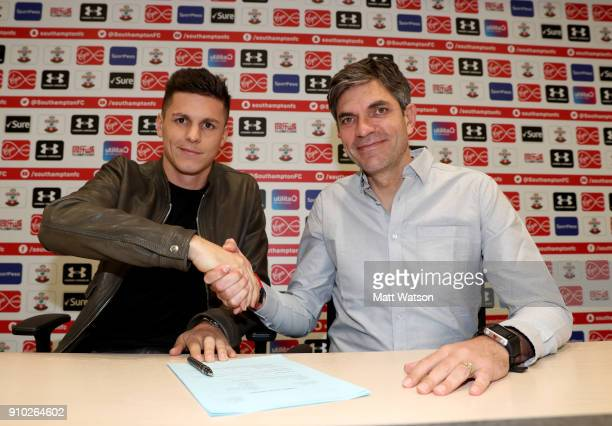 Southampton FC sign Guido Carrillo from AS Monaco on a contract until June 2021 pictured at the Staplewood Campus with manager Mauricio Pellegrino on...