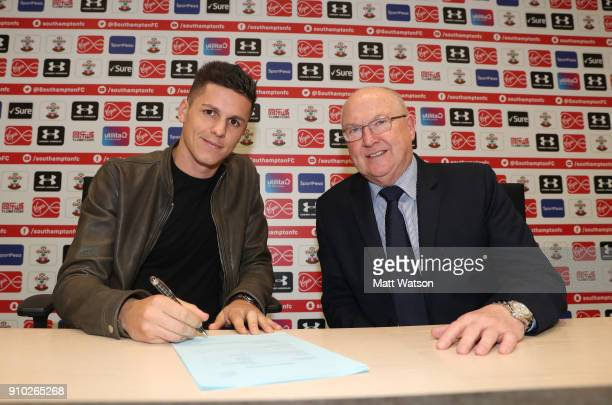 Southampton FC sign Guido Carrillo from AS Monaco on a contract until June 2021 pictured at the Staplewood Campus with Vice Chairman Les Reed on...