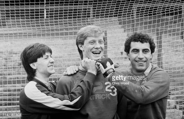 Southampton FC soccer players Steve Williams Mark Wright and Peter Shilton joking together UK 21st February 1984