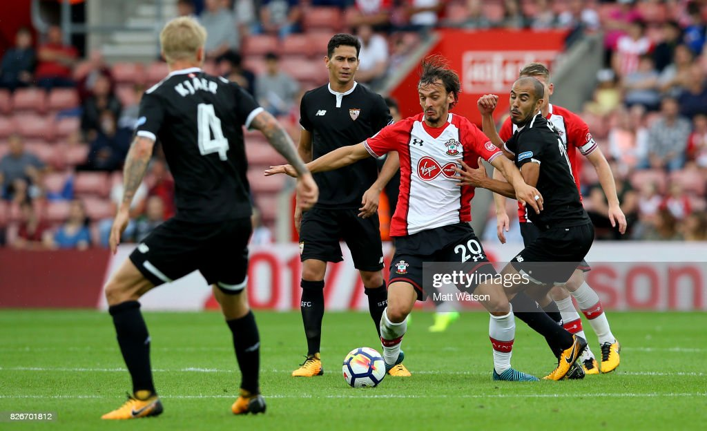 Southampton FC's Manolo Gabbiadini during the pre-season friendly between Southampton FC and Sevilla at St. Mary's Stadium on August 5, 2017 in Southampton, England.