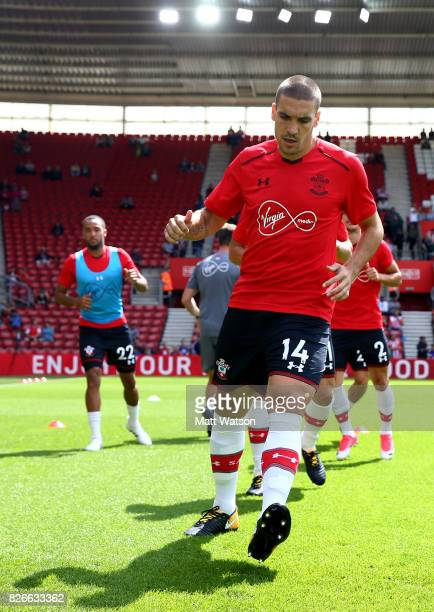Southampton FC's Oriol Romeu warms up during the preseason friendly between Southampton FC and Sevilla at St Mary's Stadium on August 5 2017 in...