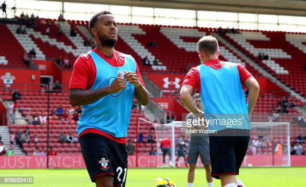 Southampton FC's Ryan Bertrand warms up during the preseason friendly between Southampton FC and Sevilla at St Mary's Stadium on August 5 2017 in...
