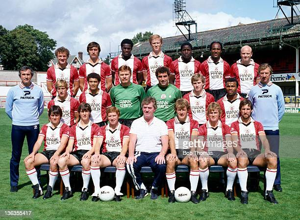 Southampton Football Club team group at The Dell in Southampton circa August 1982 Back row left to right Dennis Rofe Mark Whitlock Justin Fashanu...