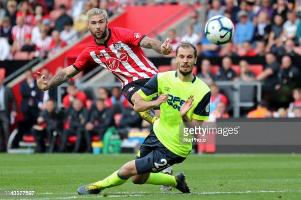 Southampton forward Charlie Austin takes a shot at goal during the Premier League match between Southampton and Huddersfield Town at St Mary's...