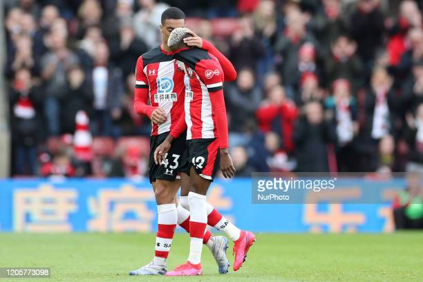 Southampton forward Moussa Djenepo leaves the pitch after a red card during the Premier League match between Southampton and Newcastle United at St...
