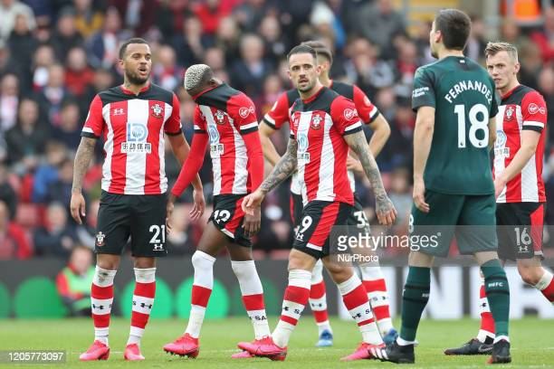 Southampton forward Moussa Djenepo sees a red card during the Premier League match between Southampton and Newcastle United at St Mary's Stadium...