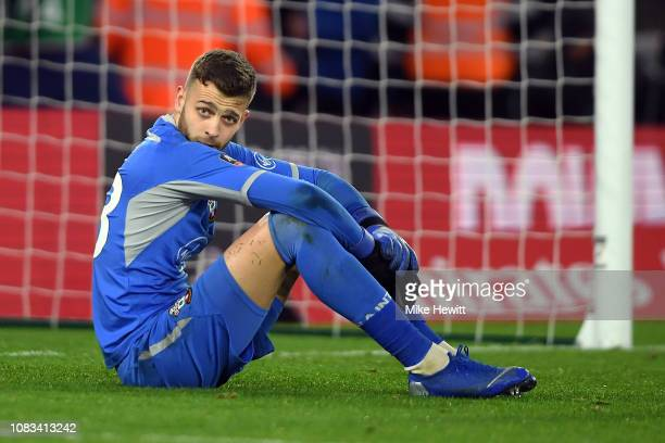 Southampton goal keeper Angus Gunn looks on after the FA Cup Third Round Replay match between Southampton FC and Derby County at St Mary's Stadium on...