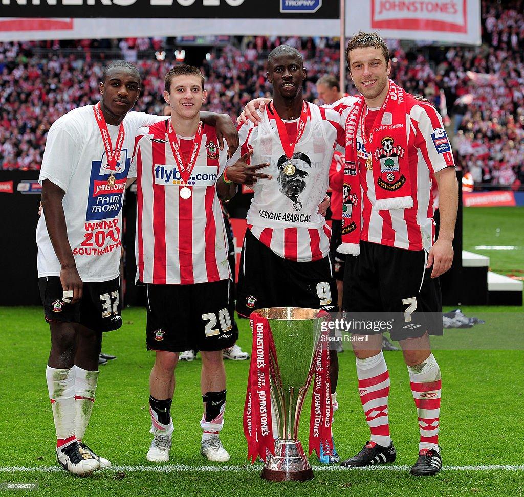 Southampton goal scorers (L-R) Michail Antonio, Adam Lallana, Ndiaye Papa Waigo and Rickie Lambert celebrate after winning the Johnstone's Paint Trophy Final between Southampton and Carlisle United at Wembley Stadium on March 28, 2010 in London, England.