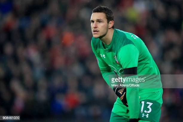 Southampton goalkeeper Alex McCarthy during the Premier League match between Southampton and Tottenham Hotspur at St Mary's Stadium on January 21...