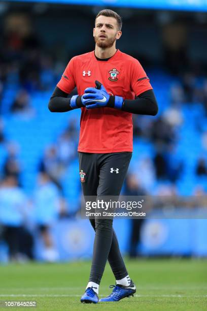 Southampton goalkeeper Angus Gunn looks on during the warmup ahead of the Premier League match between Manchester City and Southampton at the Etihad...