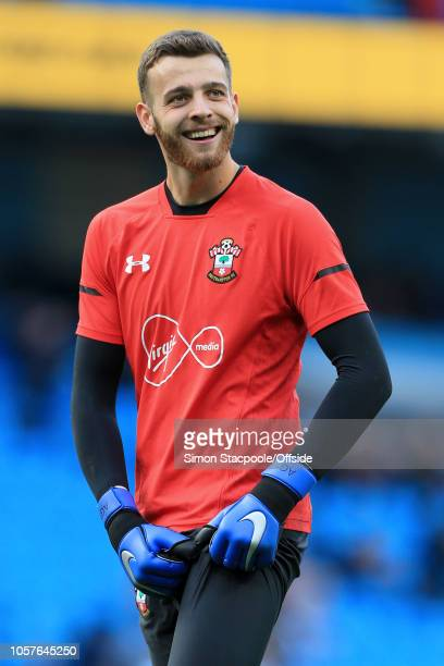 Southampton goalkeeper Angus Gunn smiles during the warmup ahead of the Premier League match between Manchester City and Southampton at the Etihad...