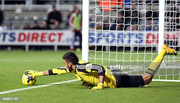 Southampton goalkeeper Paulo Gazzaniga in action during the Barclays Premier League match between Newcastle United and Southampton at St James' Park...