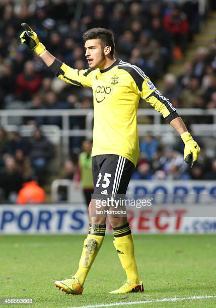 Southampton goalkeeper Paulo Gazzaniga reacts during the Barclays Premier League match between Newcastle United and Southampton at St James' Park on...