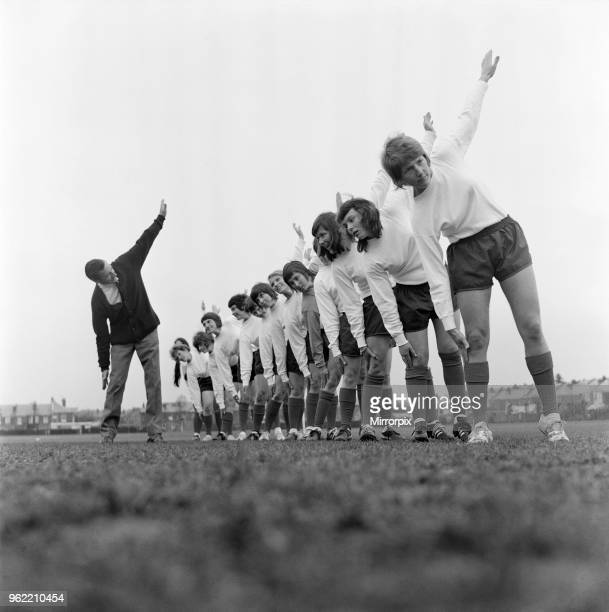 Southampton Ladies Football Club limber up with their manager Mr Norman Holloway Left to right Dot Cassell 18 Jean Seymour 35 Lesley Lloyd 23 Jill...