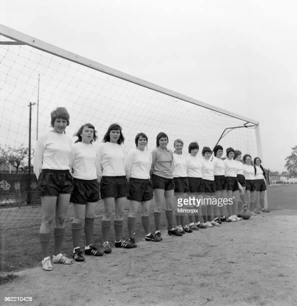 Southampton Ladies Football Club prepare for their big match Left to right Sue Lopez 25 Louise Cross 17 Lynda Hale 17 Pat Judd 18 Sue Buckett 26...