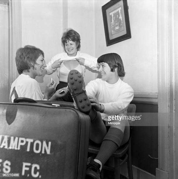 Southampton Ladies Football Club team in the dressing room of the Civil Service Sport Ground the girls get ready for a spot of training Left to right...